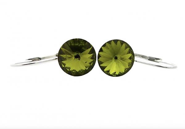Damen-Ohrringe silber-grün 2Stk mit Swarovski-Steinen besetzt