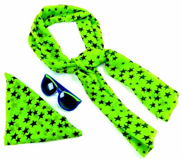 Nicki-Tuecher Set mit Brille Sterne-Grün Fasching Damen Rockab. 50er Jahre Set Monro. Tuecher mit Sonnen-Brillen 60er RockaB.Tuch 2Stk 5136