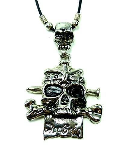 Echtleder Halskette mit Skull|Totenkopf Anhänger UX-1