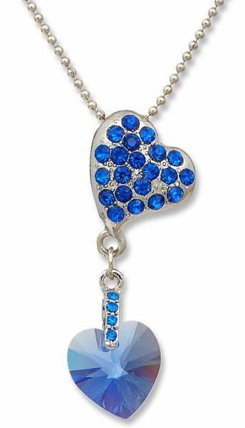 Swarovski-Sein Halsketten blau Herz Kette Damen Schmuck Silber Swarovski Elements Heart Chain  B1W1 (blau) 4985