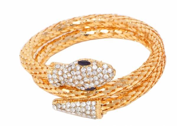 Damen-Armband Schlangen-Armbaender gold Wickelarmband Damenarmband Strass flexibel elegant (ros gold)