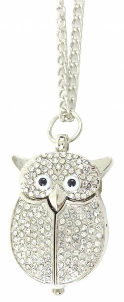 Taschenuhren Damen-Kette mit Uhr silber Umhänge-Uhr Eule-Filou silver