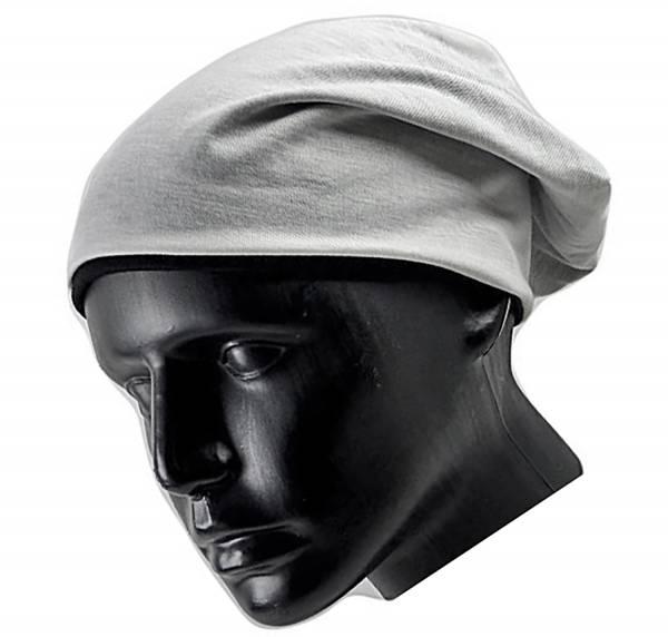 Muetze 3743 Beanie Cap 2 Farben Wende Mützen Long Beanie Change cappy turn bonnet (weiss)