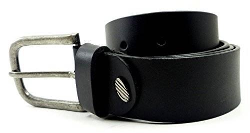 Guertel 3322 echt Leder-Guertel Leather Jeans Guertel Business Leder Gürtel BLACK (115)