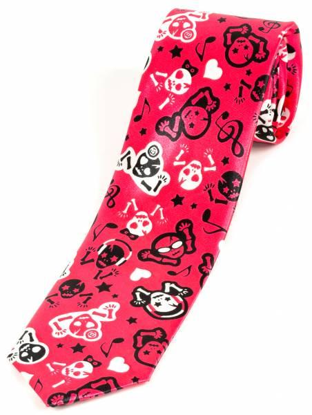 Motto-Krawatte Designer Schlips Pink Multicolor Handgefertigte Weiss Totenkopf Rot