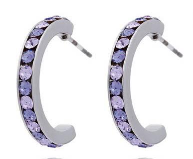 Swarovski-Stein Ohrringe Damen Halb-Creolen Silber Schmuck Set der Oberklasse! Ohrringe mit echten Swarovski Steinen besetzt 4998-5001