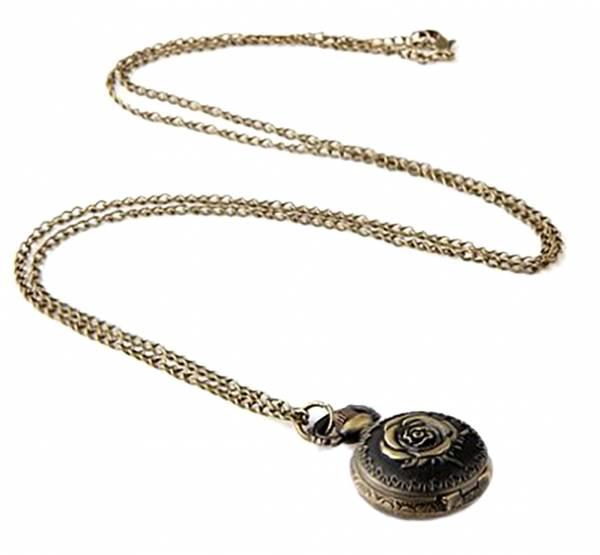 27mm Bronze Rose Kettenuhr Kette Taschenuhr Umhängeuhr