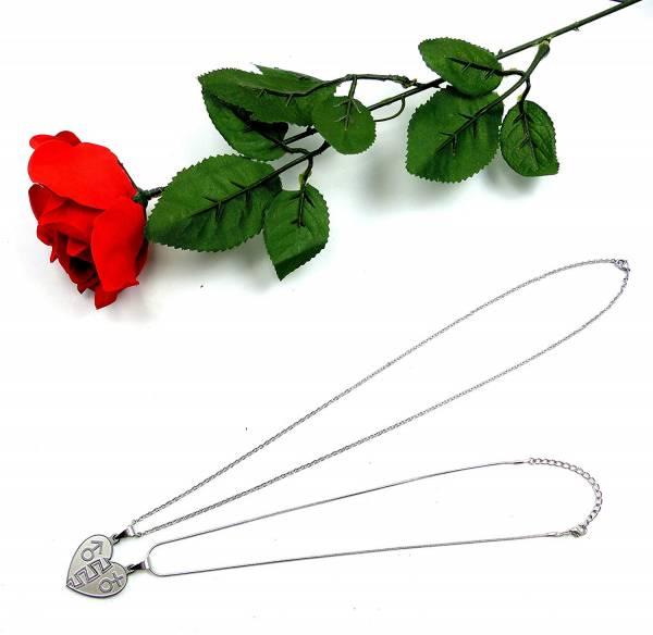 Ketten Set Halsketten Paerchen Kette mit Anhaenger 2Stk mit Rose für Paare Geschenk Set