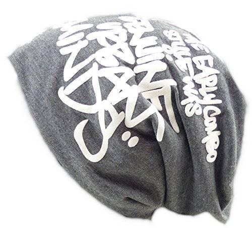 Muetze Designer Stoffmütze 2834 Long Beanie Urban Beanie Chill Wear Winter Grau mit Schrift O3x5