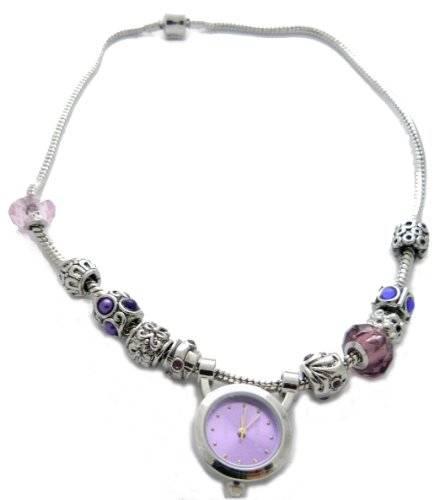 Beadsarmbanduhr oder Beadskette mit Beaduhr LILA