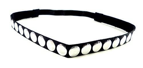 edle Damen Designer Haarbänder Halsbänder Haargummis aus Stoff mit Nieten besetzt viele Modelle (Silver Point)