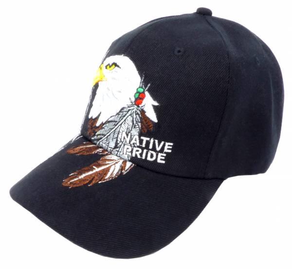 Herren Damen Base Cap schwarz Schirm Mütze Adler Motiv