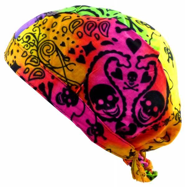 Kopftücher-Herren Damen-Kopftuch Regenbogen-bunt Totenkopf Motiv Kinder-Sonnenschutz Junge Mädchen Kopf-Tücher color-full Skull Headscarf Bandannas Rainbow-Skull