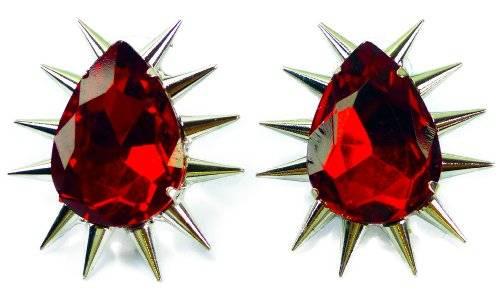 Red Killer Nieten Ohrringe 2 Stk, hochwertige Verarbeitung geschliffener Kristall RED