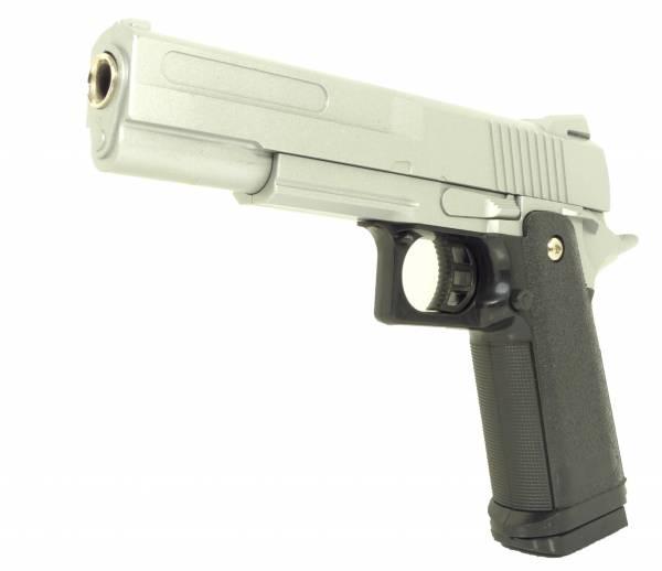 Softair Gun Set Airsoft Vollmetall Silber Federdruck Pistole 23cm Magazin 0,5 Joule