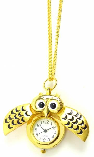 Taschenuhr Damen-Ketten Uhren gold Umhänge-Uhr Eule-Filou GOLD GLAMOUR