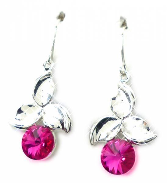 Swarovski Stein Ohrringe 4580 Swarovski Silber Haenger Ohrring Set der Oberklasse! Hanging Earring Swarovski Stones (PINK CHERRY)
