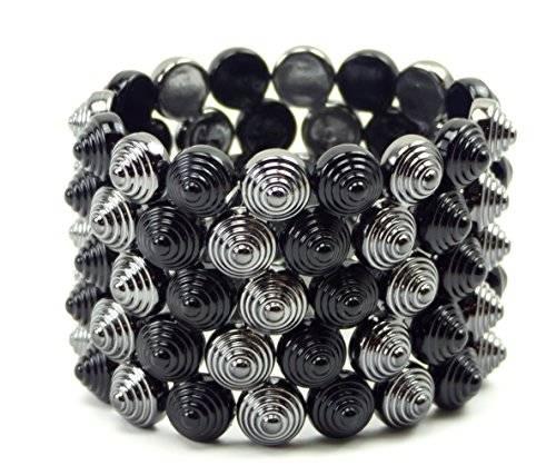 Glamour Flex Armband Nieten Armbänder Designer Schmuck für alle Größen UKx6-8 (BLACK)