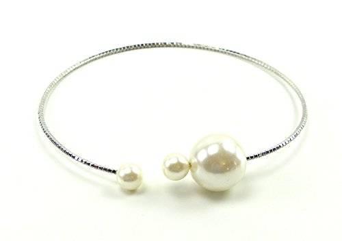 Designer Hals-bänder 2577 Haar-Reifen aus Metall mit Strass und Perlen besetzt (SILBER-PERLE)