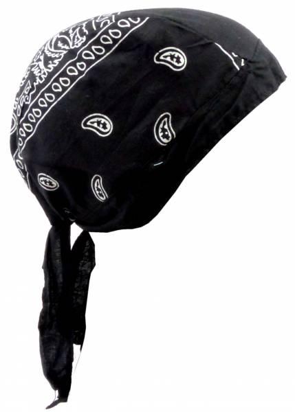 Herren Damen Kopftuch schwarz Pasl. Muster weiss