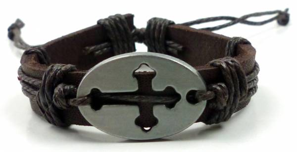 Armband Herren Damen Arnbaender braun Jesus Christus Gebets Armband Ichtyhs Kreuz Cross Leather bracelet 4815