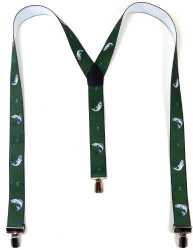 Hosenträger Herren Damen Hosentraeger grün Motiv Fisch Suspenders Men Woman GREEN FISH