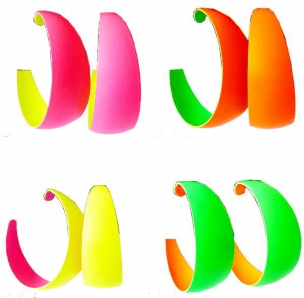 Ohrringe Damen Creolen neon Farben Disco Party Schmuck Ohrring Set 45mm Earrings Neon Colors - GRÜN 4911