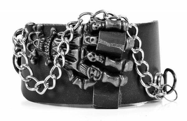 Premium Echt Spalt-Leder Armband Teufelskralle Devils-Hand und Kette Schwarz