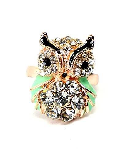 edle Damen Designer Strass Ringe viele Modelle alle Größen (Eule mint)