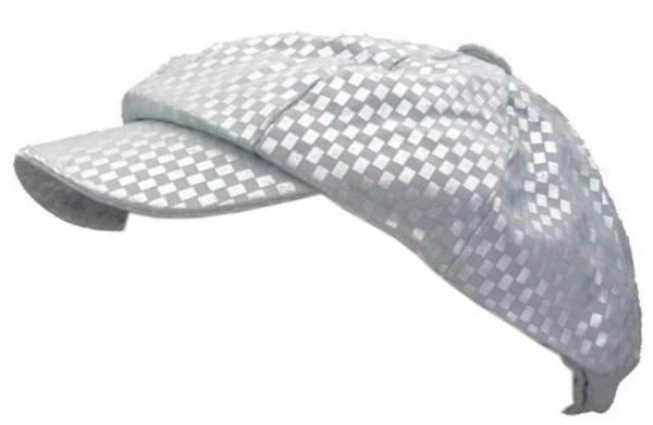 Muetze 1711 Golf Cap mit elegantem Karomuster Designer Kopfbedeckung silber/weiss