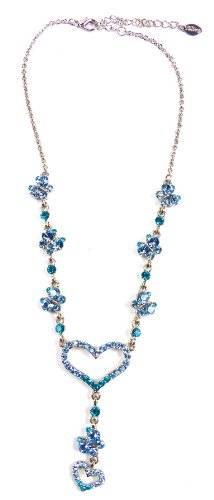 Tillberg Damen-Halskette mit Swarovski-Steinen besetzt Designer Herzkette türkis Swarovski-Elements - hochwertige Verarbeitung