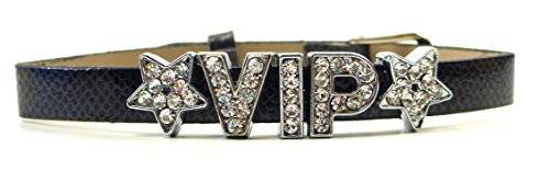 Armband 1712 viele Damen Designer Armbaender mit schönen Strass Buchstaben VIP (schwarz)