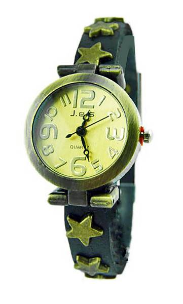 Damen-Uhren Leder-Armband Uhr mit Stern-Nieten Wickel Lederarmband-Uhren Stern Nieten SCHWARZ