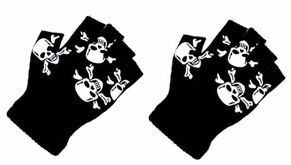 Totenkopf Handschuhe schwarz Fäustlinge 2 Stk Halloween Fasching Karneval Half-Hand-Skull Black Punch