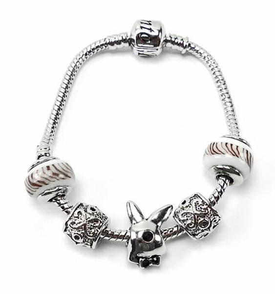 Armband 2937 Beads Armbaender silber Designer Charms in einzigartiger Zusammenstellung Bunny White