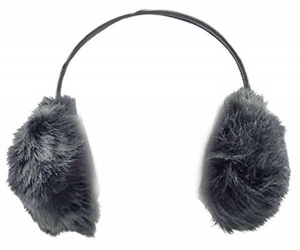 Ohrwärmer und Lautsprecher Kuschelig weich mit Fell (full fluffer black)