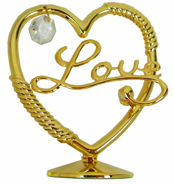 Valentinstag Herren Damen Geschenk Herz LOVE Gold Sculpture mit Swarovski Stein 24 Karat vergoldet Deko Schminktisch Hochzeit Torte Aufsteller 4858