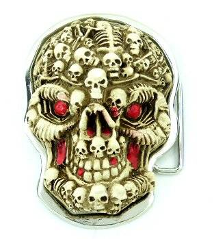 Hammer Gürtelschnalle Punk Rock Totenkopf Killer Gothic Koppel Gürtel Schnalle Beige Killer Head Buckle