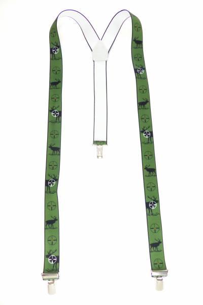 Hosenträger grün Jäger-Motiv Hirsch Deer-Hunter green Suspenders Design, mit 3 Clips, 3,5 cm