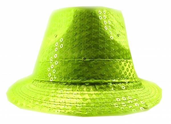LED Party Hüte neon grün Pailletten LED Lichter Wechsel neon gelb