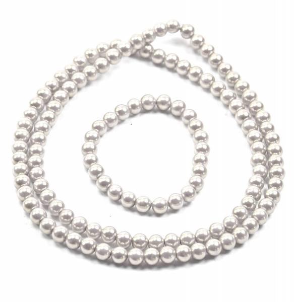Perlenketten Set Perlen Kette mit Perlen Armband Schmuck Set Perlensets (58, creme weiss)