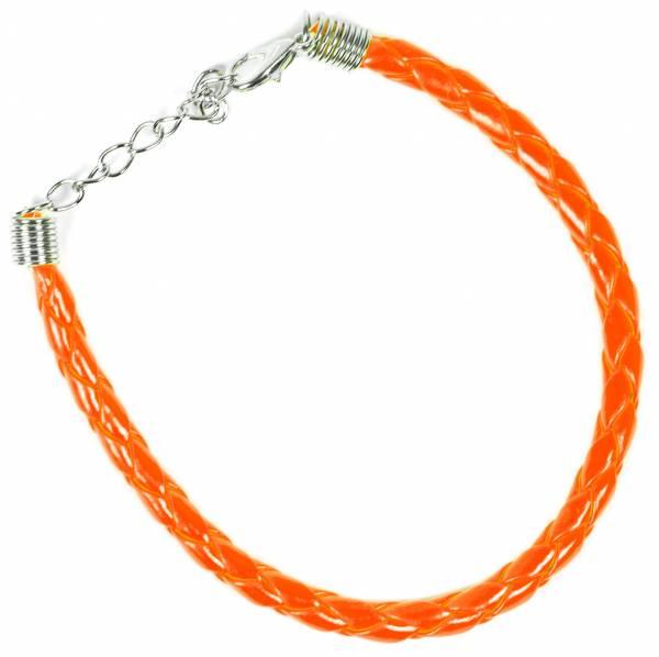 Geflochtenes Armband Armreifen 0,5cm Karabiner-Verschluss Orange
