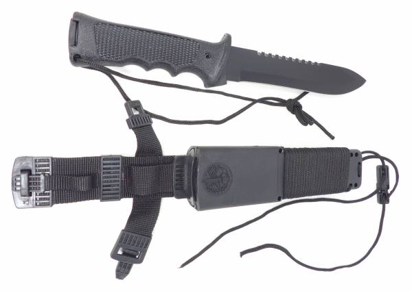 High-End Profi Outdoor Survival Messer-Set schwarz Stahl