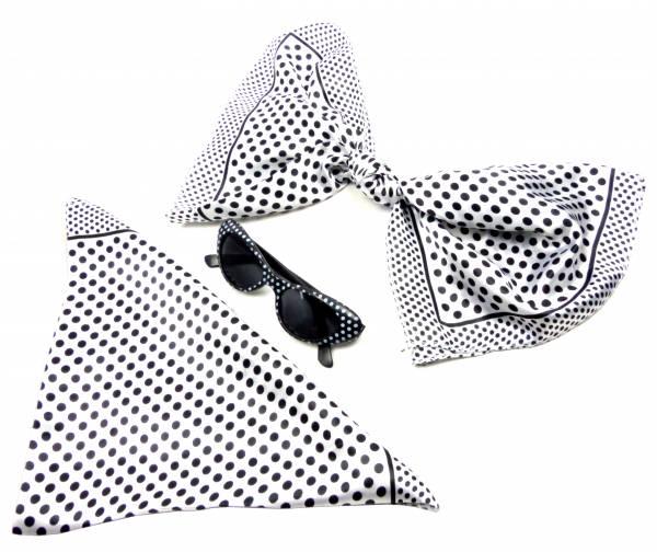 50er Jahre Set Tücher weiss seidig weich Monro. Fasching-Set Damen Rockab. Tuecher mit passender Sonnen-Brille schwarz 60er Billy Tuch Poly. white 5196