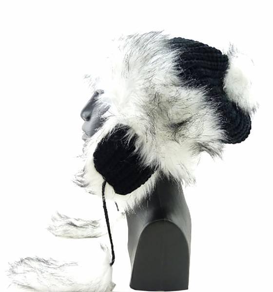 Herren Damen Winter Mütze schwarz mit Kunst-Fell