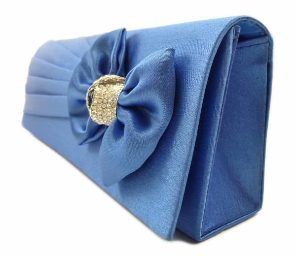 Handtaschen 4658 Clutch Damen Handtasche der Extraklasse mit Glamour Strass viele Modelle (blau Schleife)