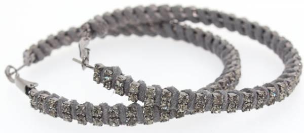Ohrringe Damen Creolen grau Swarovski Stein Ohrring Set 2Stk grey Creolen Swarovski Elemente der Extraklasse! 4842