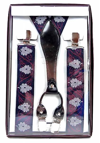 hochwertiger Hosenträger in toller Geschenkverpackung mit Edelsweiss Muster SCHWARZ