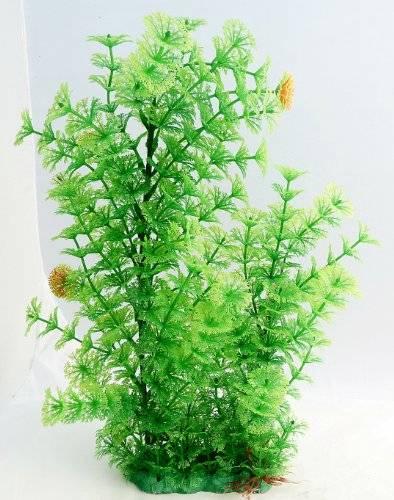 Aquarium Terrarium Wasserpflanze Grün 40cm auf Stein PF51