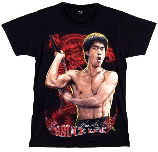 Herren Damen T Shirt schwarz Bruce Lee Motiv Größe: L